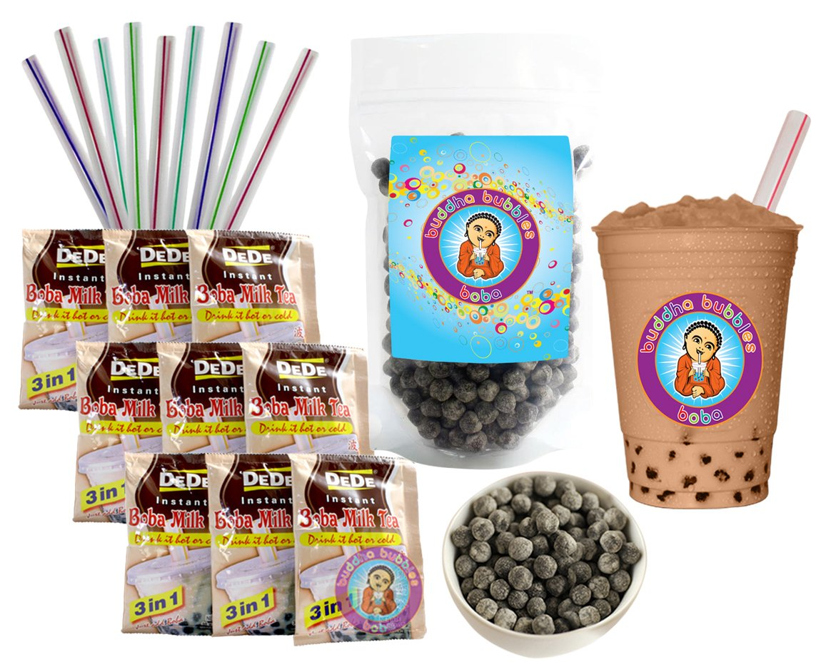 DeDe Instant Boba Tea Kit 9 Milk Tea Latte Drink Packets, Fat Straws & Boba by DeDe & Buddha Bubbles Boba