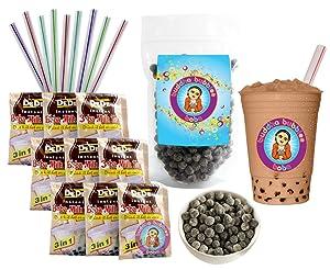 DeDe Instant Boba Tea Kit 9 Milk Tea Latte Drink Packets, Fat Straws & Boba