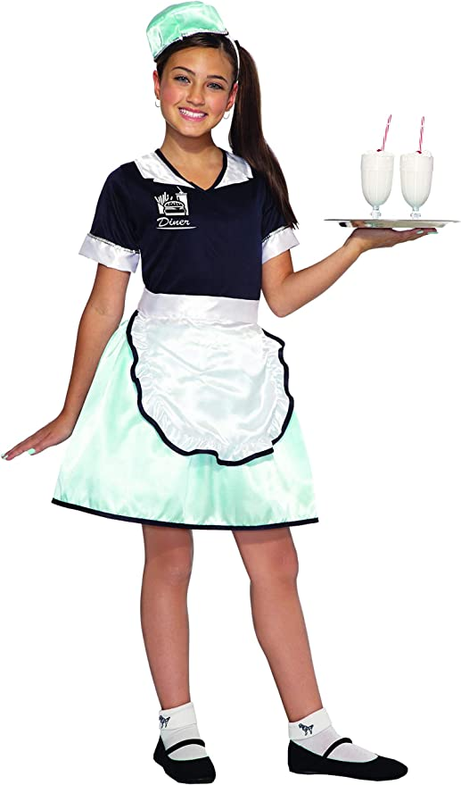 1950s Costumes- Poodle Skirts, Grease, Monroe, Pin Up, I Love Lucy Forum Novelties Childs 50s Diner Waitress Costume As Shown Medium $14.99 AT vintagedancer.com