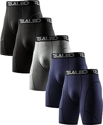 TELALEO 5/6 Pack Compression Shorts Men Spandex Sport Shorts Athletic Workout Running Performance Baselayer Underwear