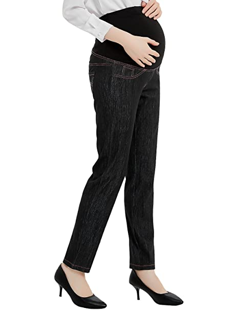 762cf0227e6f8 Bhome Maternity Jeans Pants Over The Belly Leggings Stretchy Skinny Leg  Pants Black Jeans S