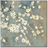 White Flowers Painting Canvas Art: Cherry Blossom Artwork Floral Picture Wall Art for Bedroom (24'' x 24'' x 1 Panel)