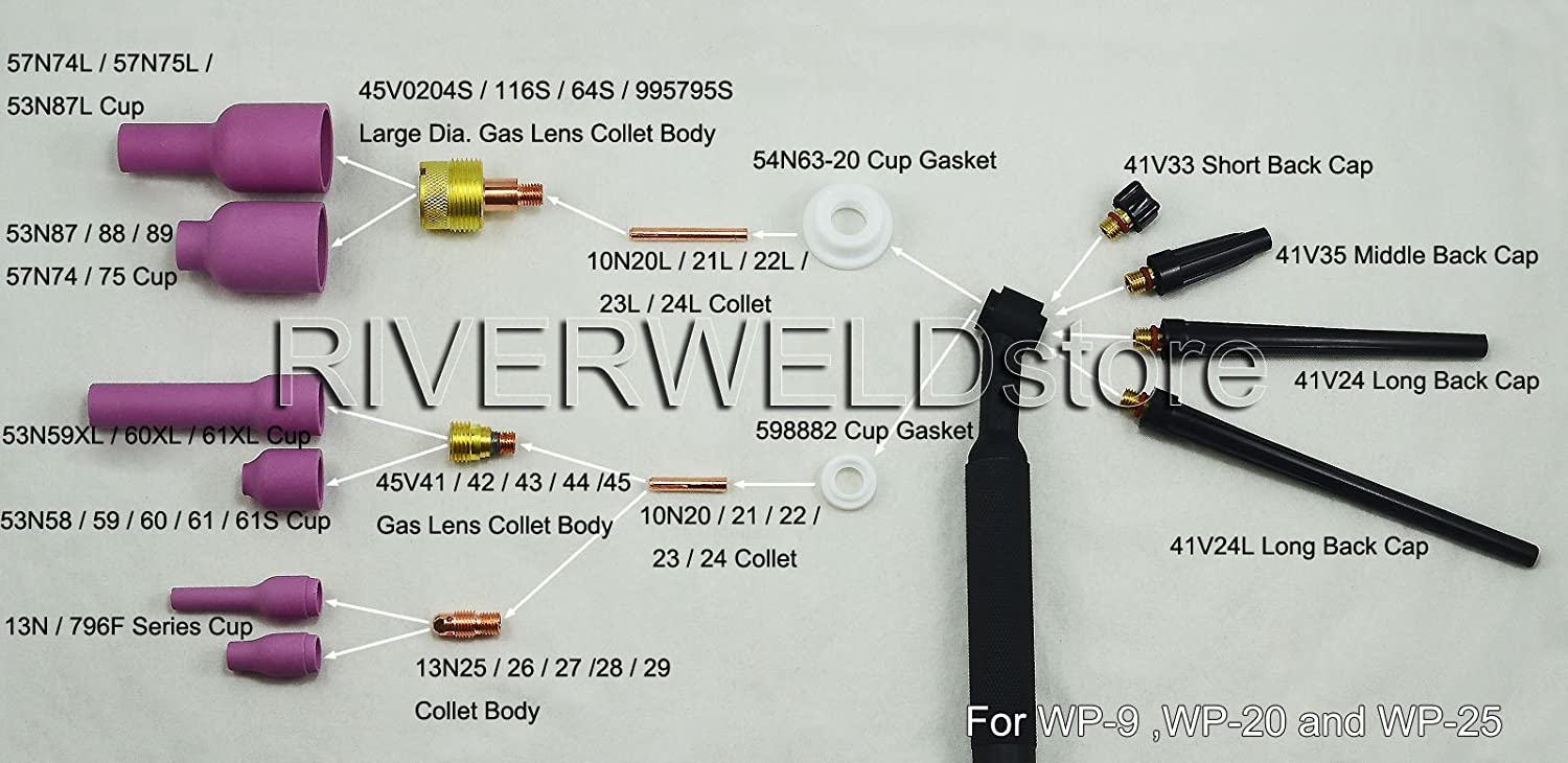 TIG Gas Lens Collet Body Assorted Size Fit TIG Welding Torch SR WP9 20 25 21pcs