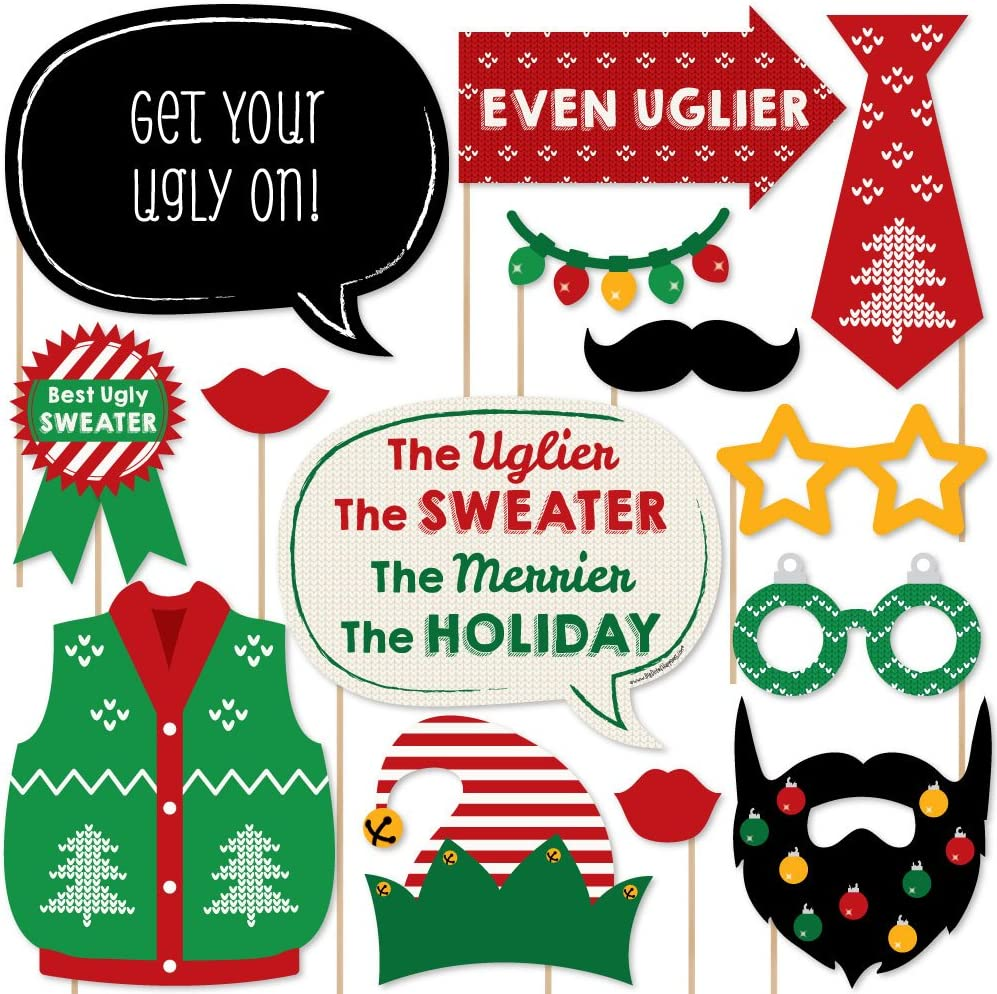 Big Dot of Happiness Ugly Sweater - Holiday and Christmas Party Photo Booth Props Kit - 20 Count