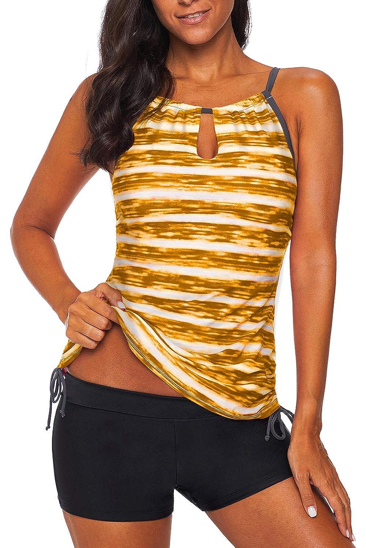 REKITA Womens Stripe Printed Tankini Top with Boyshort Swimsuits Bathing Suits