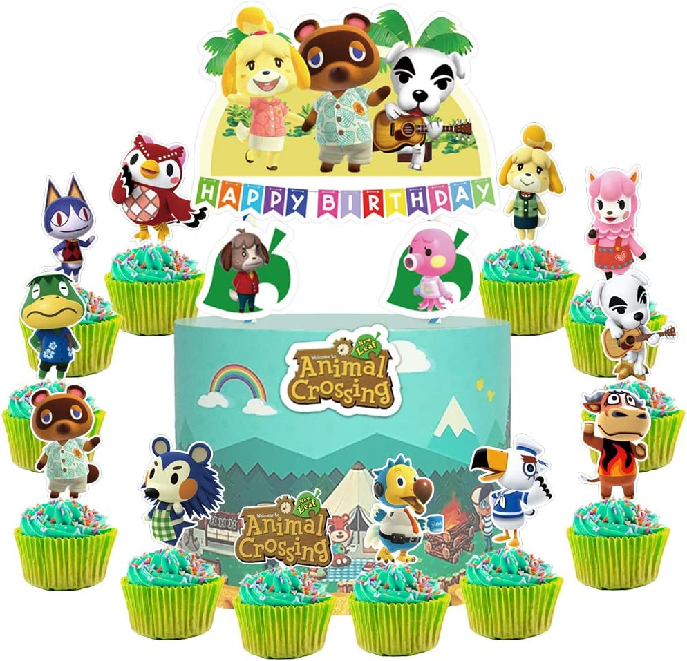 Amazon Com 28 Toppers For Animal Crossing Cake Topper Cupcake Toppers Cute Animal Happy Birthday Cake Toppers Cake Decorations For Bday Theme Party Toys Games