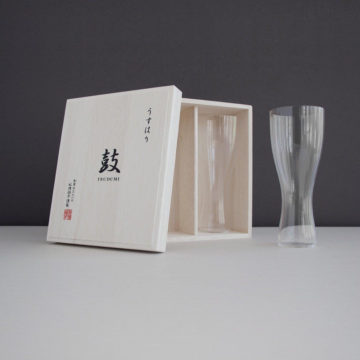 Usu Usuhari glass hourglass beer glass (Pilsner) wooden box 2P set