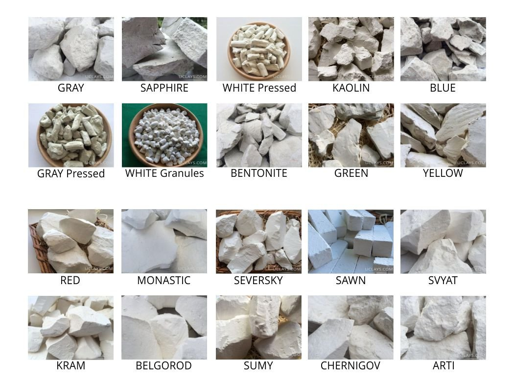 Set of samples of ALL TYPES edible natural CHALK & CLAY chunks for eating, 20 species (Total 2 lb / 900 g) UCLAYS