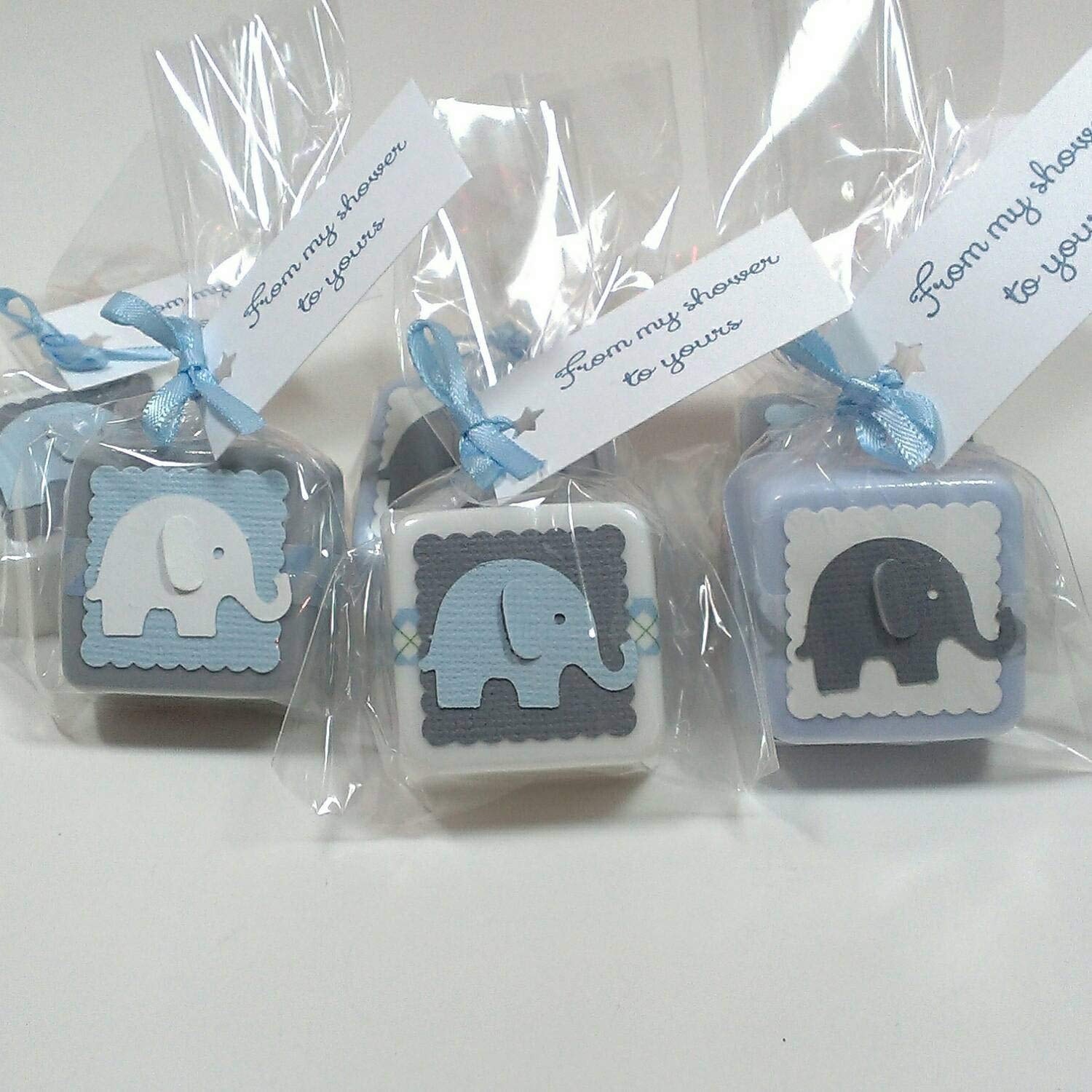 Amazon.com: Personalized Elephant Baby Shower favors for boys girls or  gender neutral choose any colors: Handmade