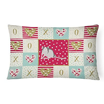 Caroline's Treasures CK5461PW1216 Husky Rat Love Canvas Fabric Decorative Pillow, 12H x16W, Multicolor : Garden & Outdoor