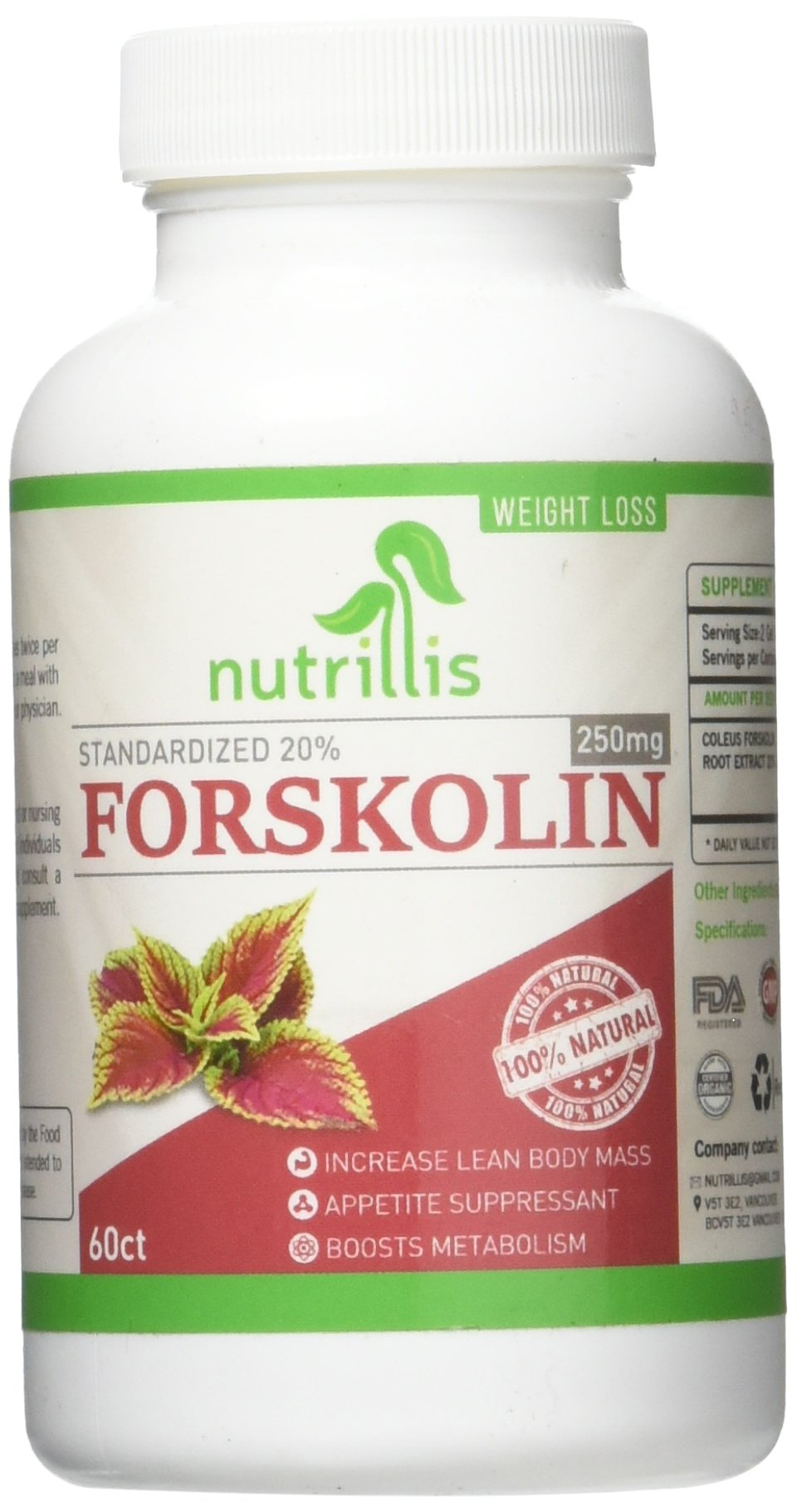 Non Gmo, 100% Pure Forskolin Extract, Standardized to 20%, For Carb Blocker, Natural Organic, Weight Loss Pills for Men and Women, Stomach Fat Burner, Appetite Suppressant,Metabolism Booster