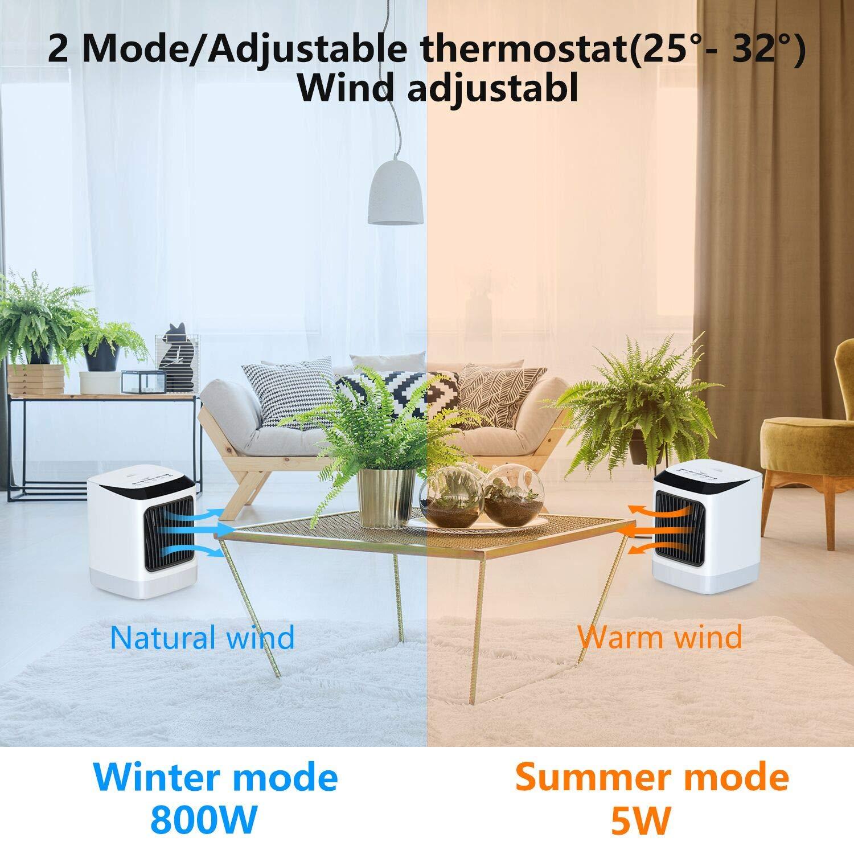 Radiateur soufflant Protection anti-retournement et protection contre la surchauffe Thermostat r/églable 800W Radiateur /électrique portatif avec 7 veilleuses r/églables de couleur pour table de bureau