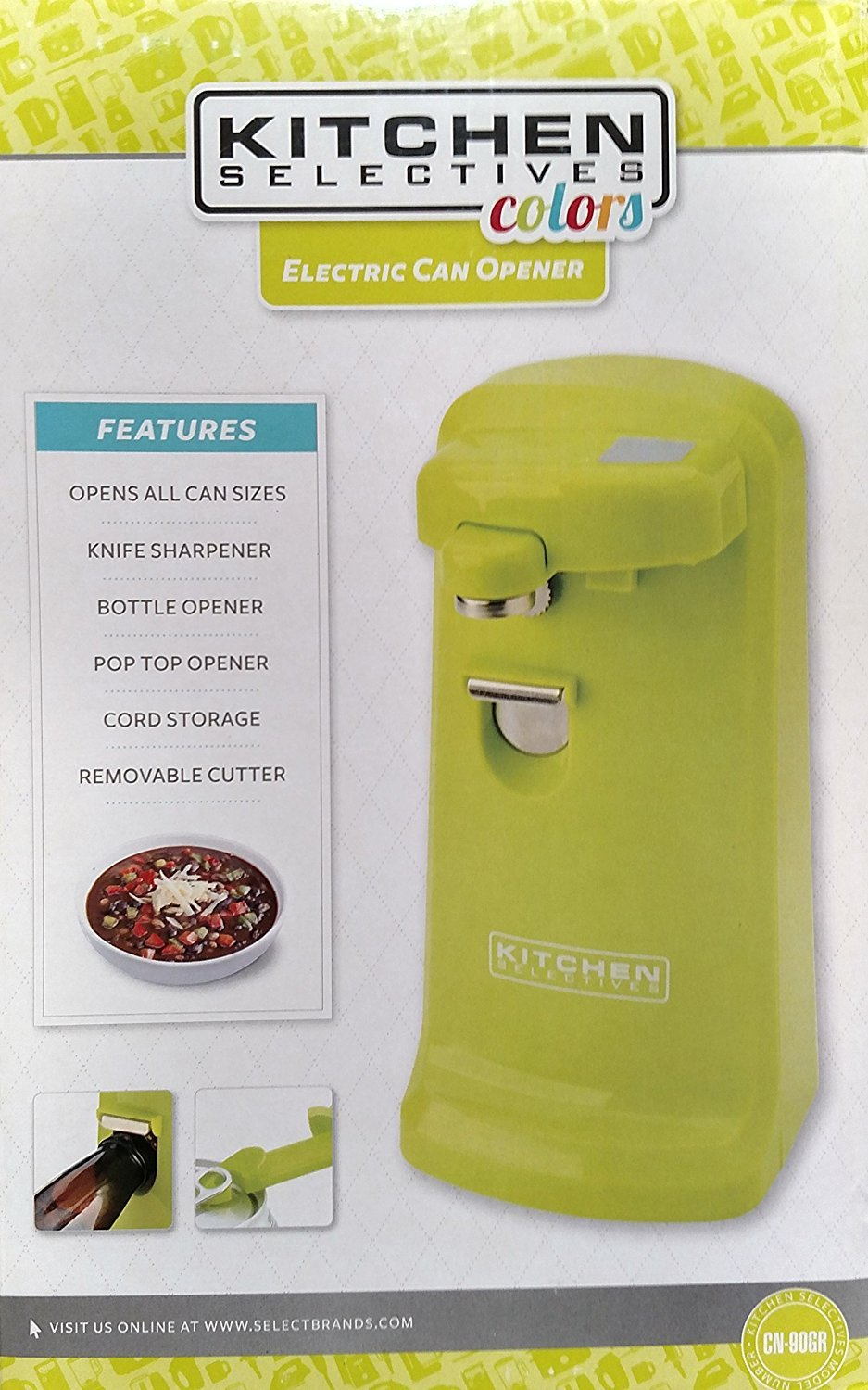 Kitchen Selectives Colors Electric Can Opener, Lime Green (Lime Green) COMINHKPR126075