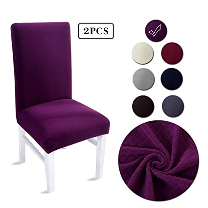 LAIKEUP Dining Room Chair Covers Set Of 2 Purple Spandex Stretch Fabric Seat Protector