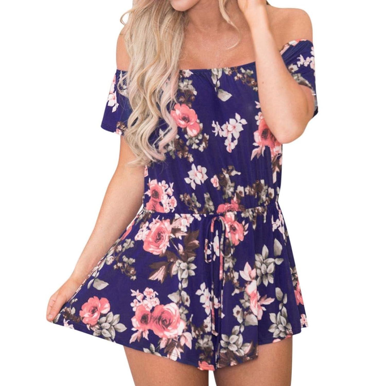 ae6ab9460f08 Amazon.com: Longay Women Off Shoulder Flowers Printed Romper Waisted Belt Jumpsuit  Mini Short Dress: Clothing