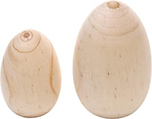 DNDECONATION Large 5 in Natural Wooden Easter Egg Handmade Ornament Gift for DIY Spring Decor Set