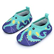 JIASUQI Summer Comfort Water Skin Shoes Socks for Baby for Beach Pool Aerobics,Green Octopus 0-6 Months