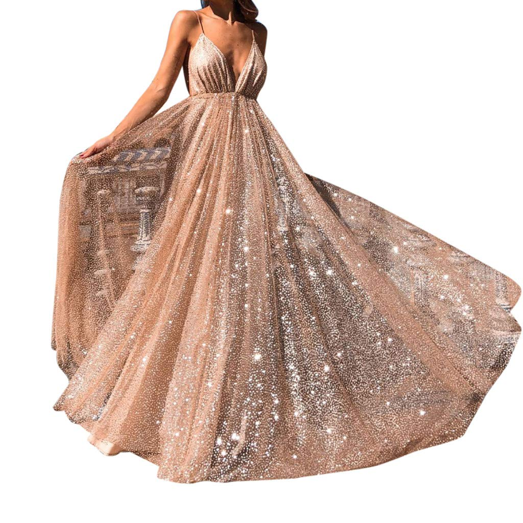 OWMEOT Dress,Women Sequin Bridesmaid Dress Sleeveless Maxi Evening Prom Dresses (Gold, L)