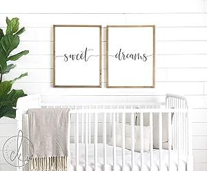 CELYCASY Nursery Room Decor | Sweet Dreams Signs | Nursery Sign | Wood Framed Sign | Crib Sign | Sign Above Crib | Nursery Wall Art