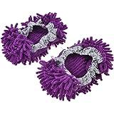 Lot de 2 bouchons anti-poussière intérieur poli pied de chaussons Pantoufles serpillère Violet