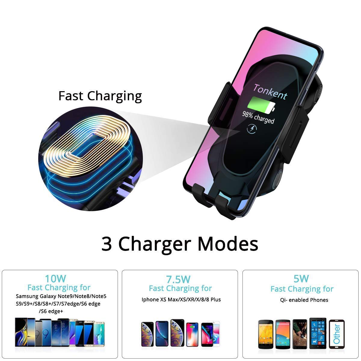 10W Compatible for Samsung Galaxy S9//S9+//S8//S8+//Note 8 Tonkent Fast Car Wireless Charger Mount Air Vent Dashboard Phone Holder 7.5W Compatible for iPhone Xs Max//Xs//XR//X// 8//8 Plus