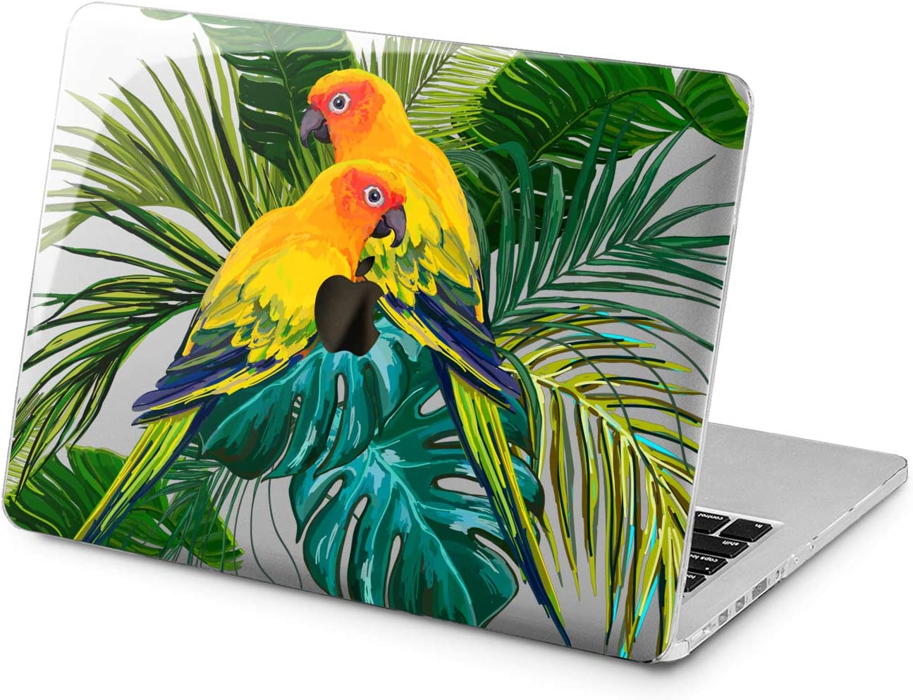 "Cavka Hard Shell Case for Apple MacBook Pro 13"" 2019 15"" 2018 Air 13"" 2020 Retina 2015 Mac 11"" Mac 12"" Leaves Print Tropical Laptop Design Birds Painted Plastic Cover Cute Palm Parrots Protective"
