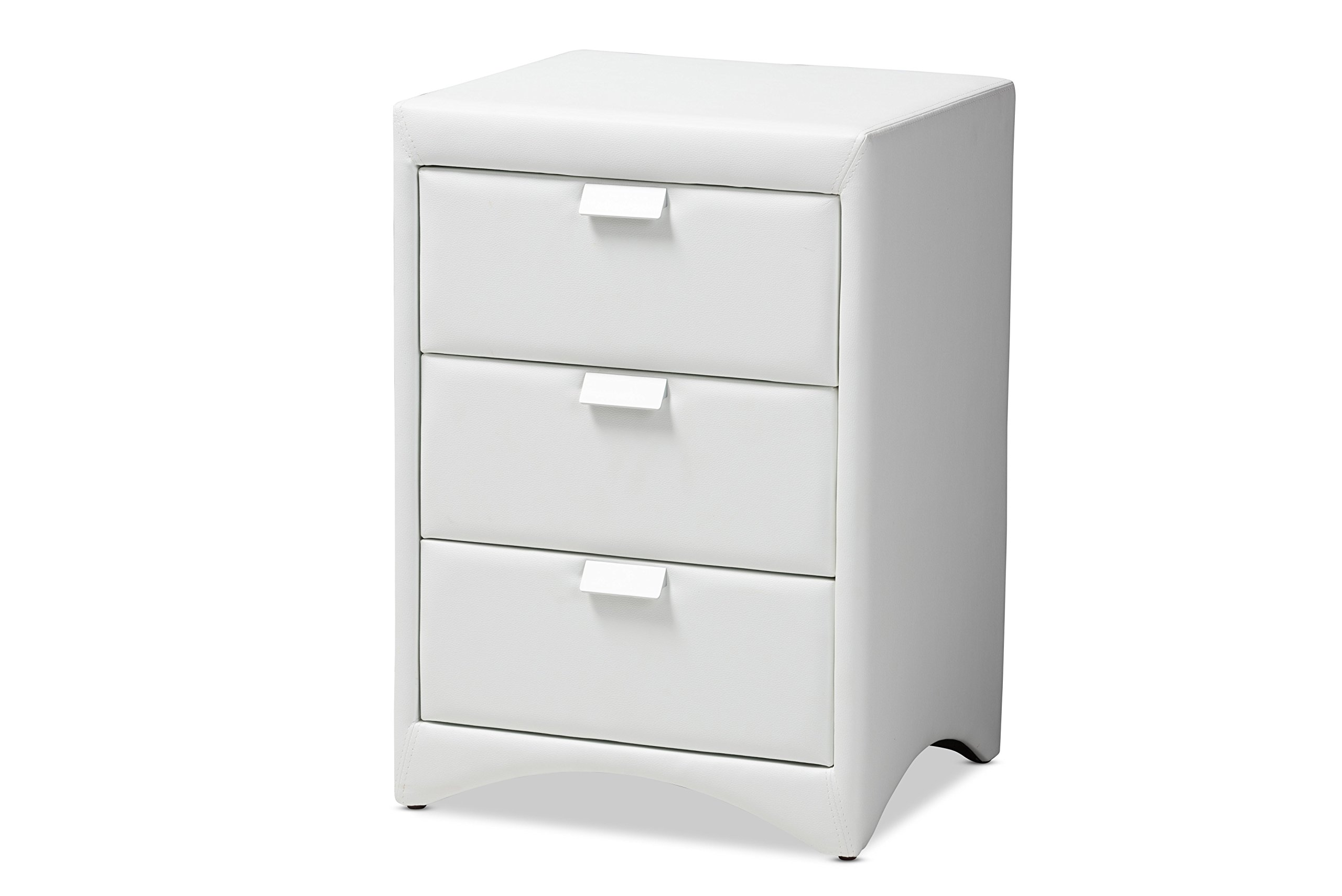 Baxton Studio Martelle Nightstand, White - Modern and contemporary Nightstand White faux Leather upholstery Silver, powder-coated handles - nightstands, bedroom-furniture, bedroom - 71NfU1SznvL -