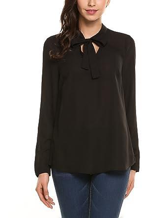 7135e04707 Amazon.com: Zeagoo Women Bow Tie Neck Shirt Chiffon Button Down ...
