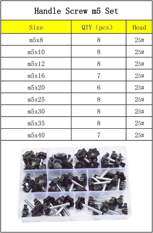 Color : M8 Set Head 32mm Thumb Screws M5 M6 M8 Thread Star Shape Clamping Handle Bolt Knob Tightening Screw Industry Equipment Plastic Carbon Steel Assortment Kit Fixed