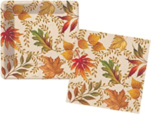 Autumn Elegance Fall Leaves Themed Party Supplies - Bundle Includes Paper Dessert Plates & Napkins for 16 People