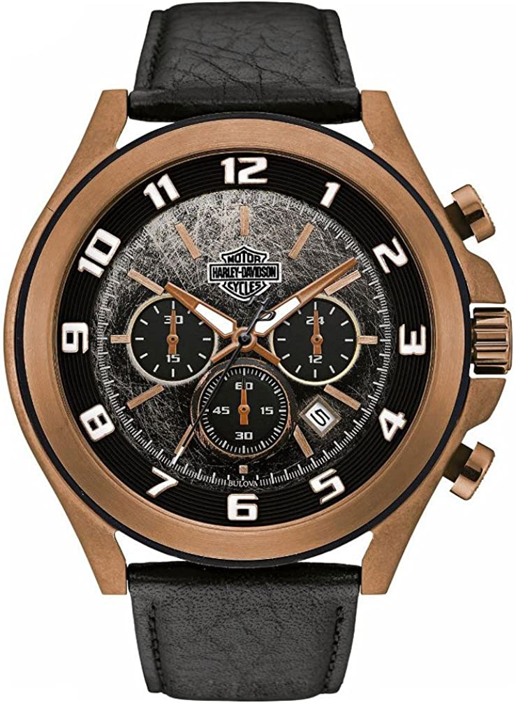 Harley-Davidson Men s Six-Hand Chronograph Watch, Amber Plated Finish 78B148