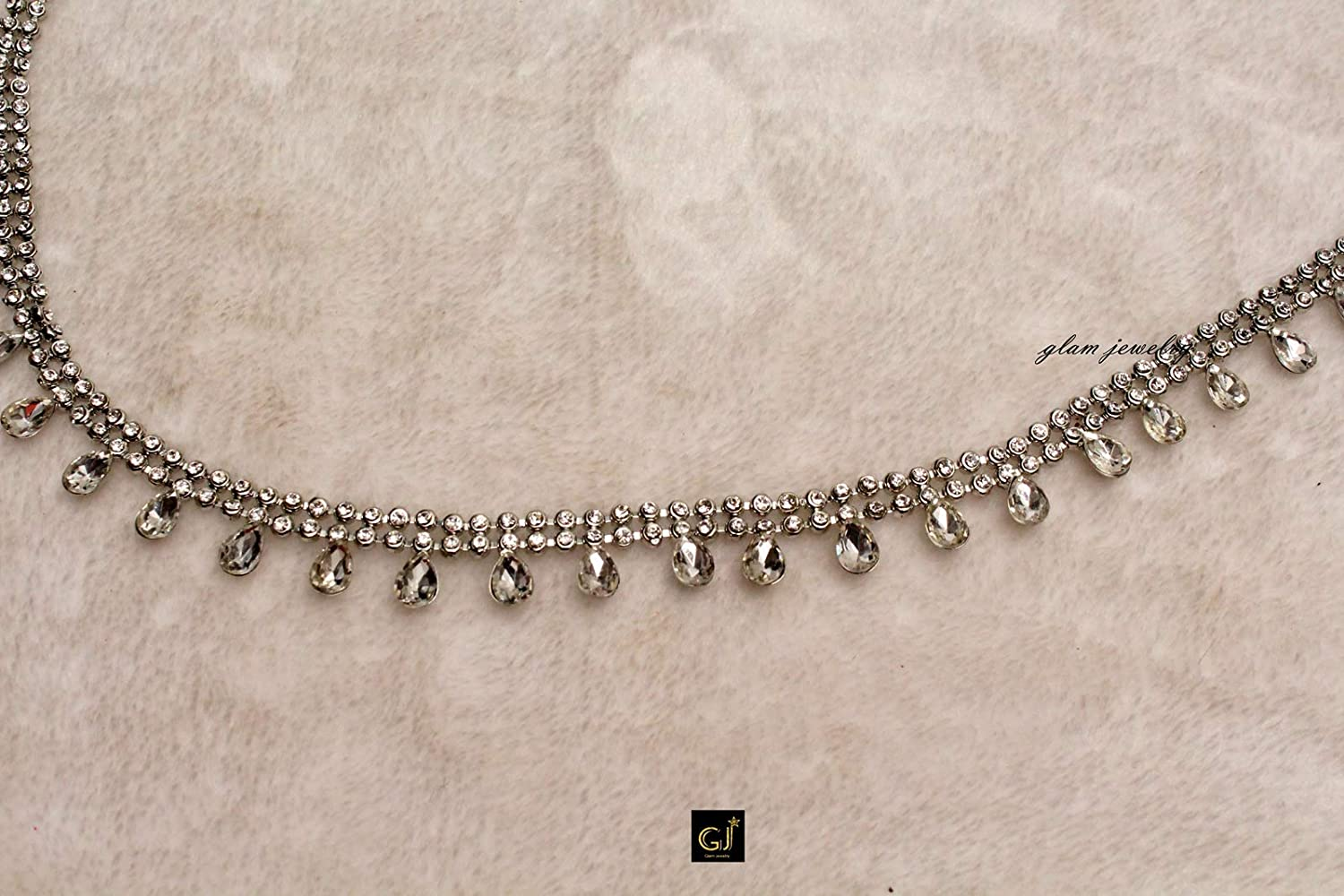Glamorous Collection Silver Belt Crystal Belly Bollywood Waist Chain//Wedding Bridal Waist Chain Jewelry