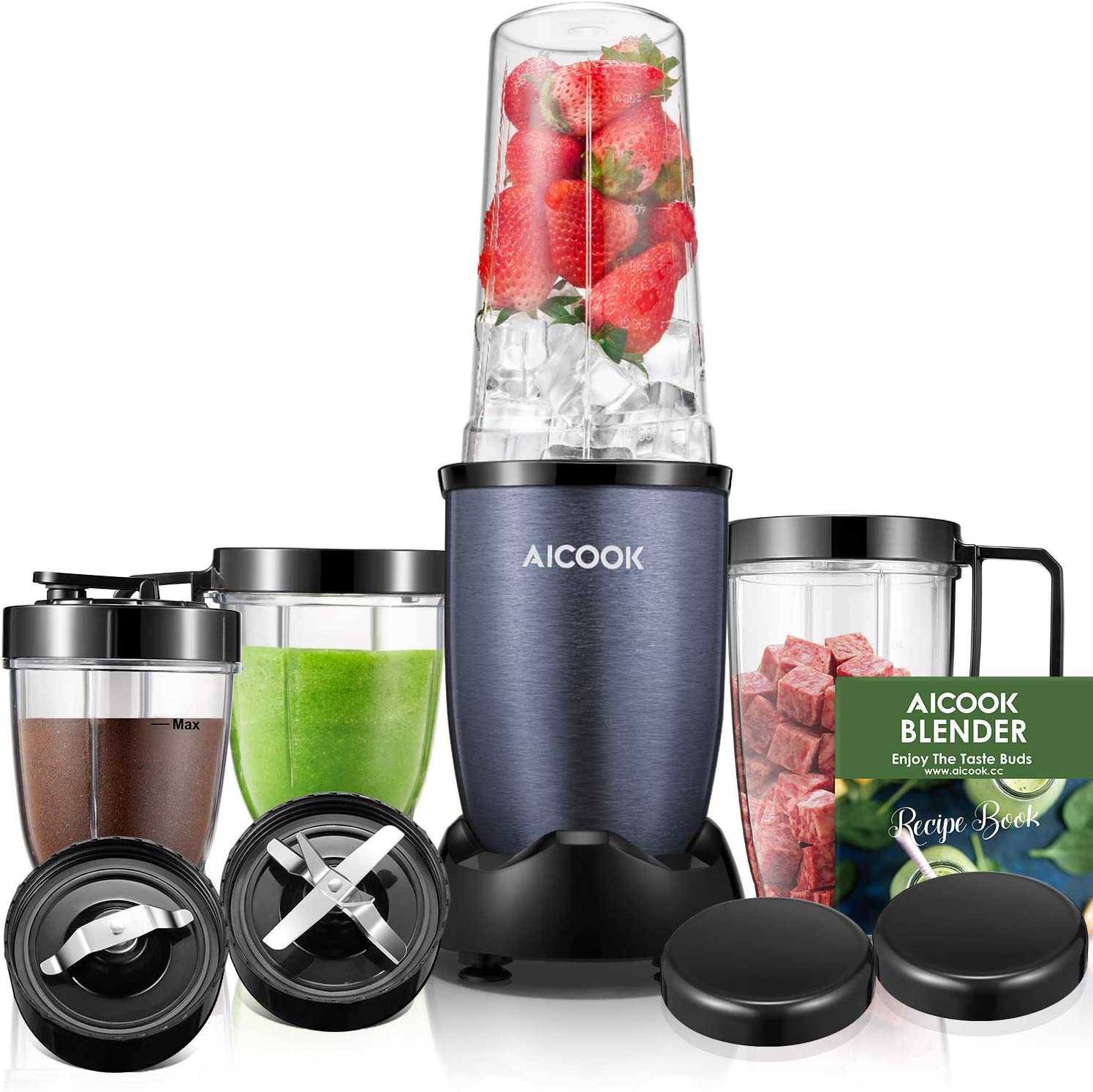 AICOOK Smoothie Blender Personal Blender for Shakes and Smoothies Bullet Blender Meat Chopper Coffee Grinder Food Processor Combo with 4 Cups 780W