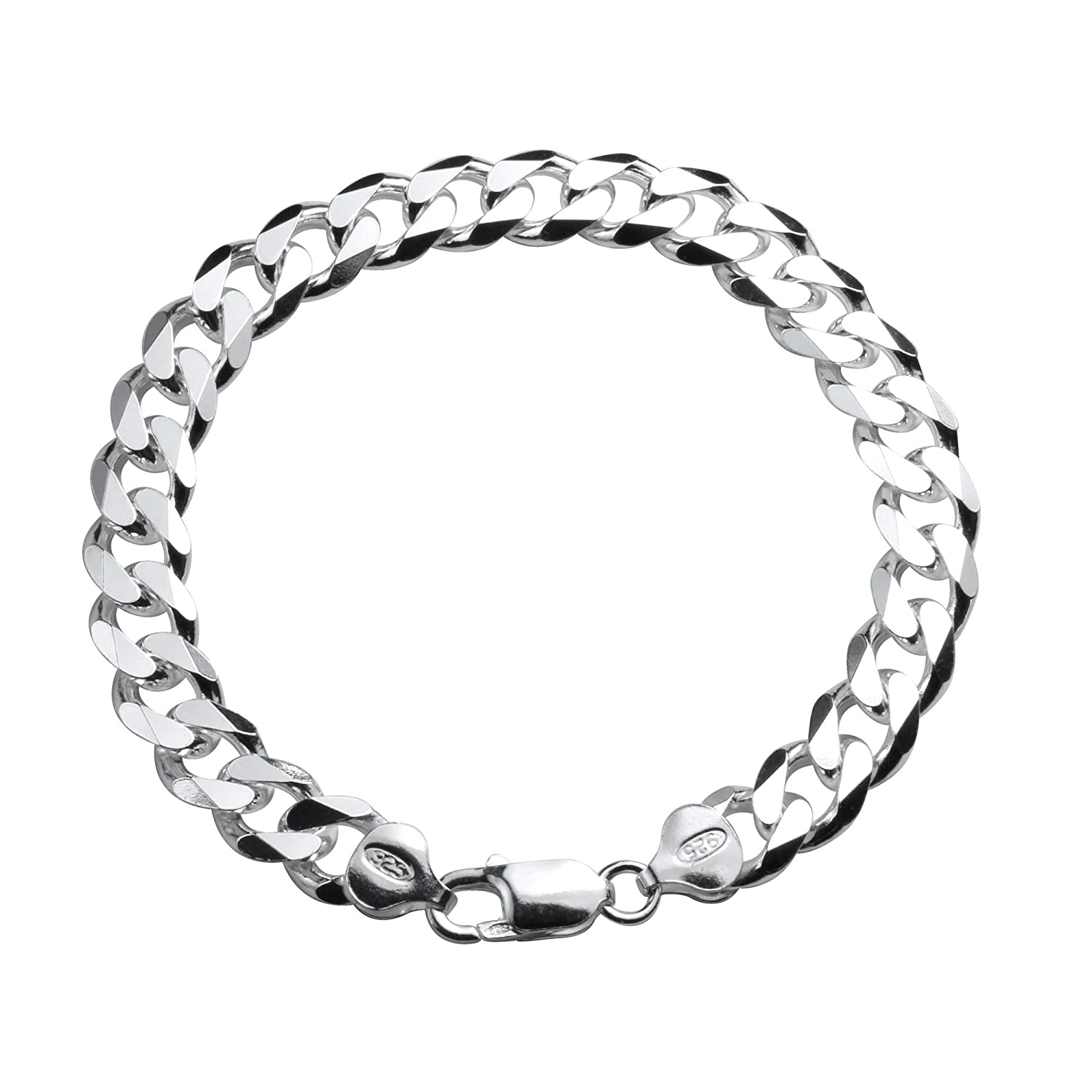861f54e3bc443 Designer Inspired 8mm Thick Silver Curb Chain Bracelet Sterling 925 Stamped  8inch 20cm