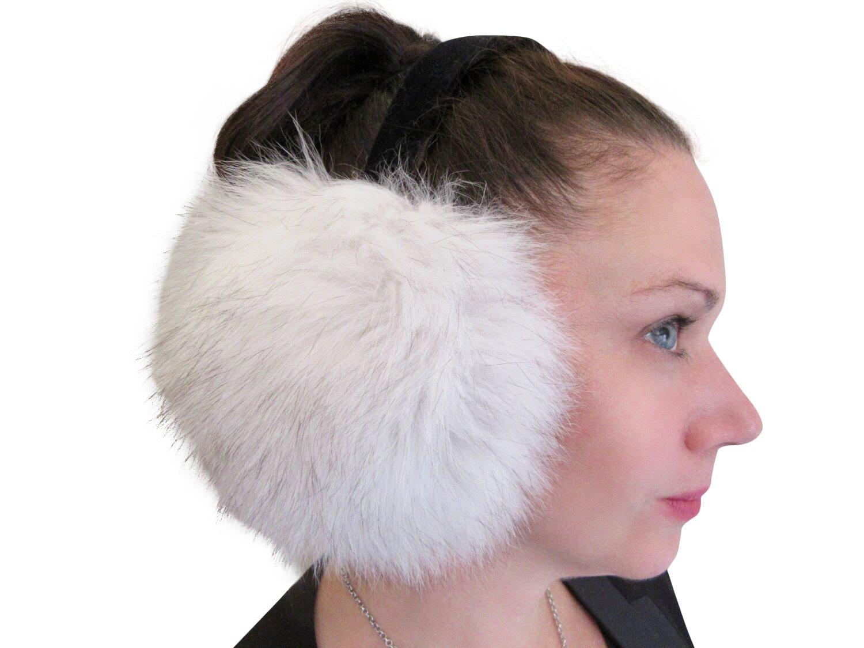 Natural Blue Fox Ear Muffs