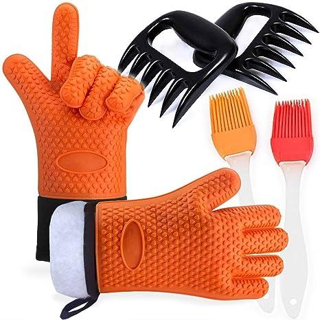 Barbacoa Grill guantes resistente al calor con garra de oso carne garras y pincel de silicona, Guantes de Cocina antideslizante para Horno Microondas ...