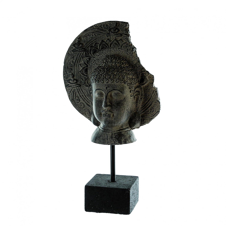 Casa Blanca Buddha testa Maya Marrone/Grigio h.57cm in Poly/Metallo, su base nero Casablanca
