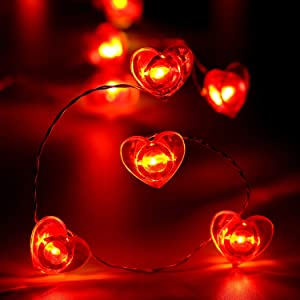 Frienda Valentine's Day Heart String Lights, 40 LED 10ft/3.1m Red Heart Shape Fairy Lights for Valentine Decor Wedding Anniversary Engagement Dating Party Decorative Lights