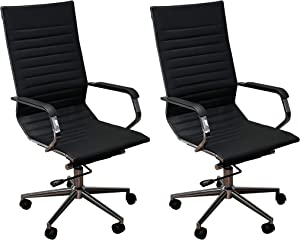 ErgoMax Set of 2 Ergonomic Height Adjustable High Back Office Chairs w/Armrests, 46.9 Inch Max, Black