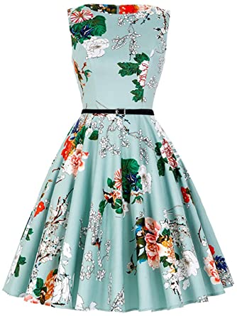 Womens Vintage Sleeveless a Line Floral Spring Garden Tea Party Cocktail Dress with Belt C72 (