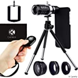 Lens + Shutter Remote Kit for Apple iPhone 6/6s + 6 Plus/6s Plus - Incl Bluetooth Camera RC, 12x Telephoto + Fisheye + Macro + Wide Angle Lens + Tripod, Holder, Hard Case (2x), Bag, Cleaning Cloth