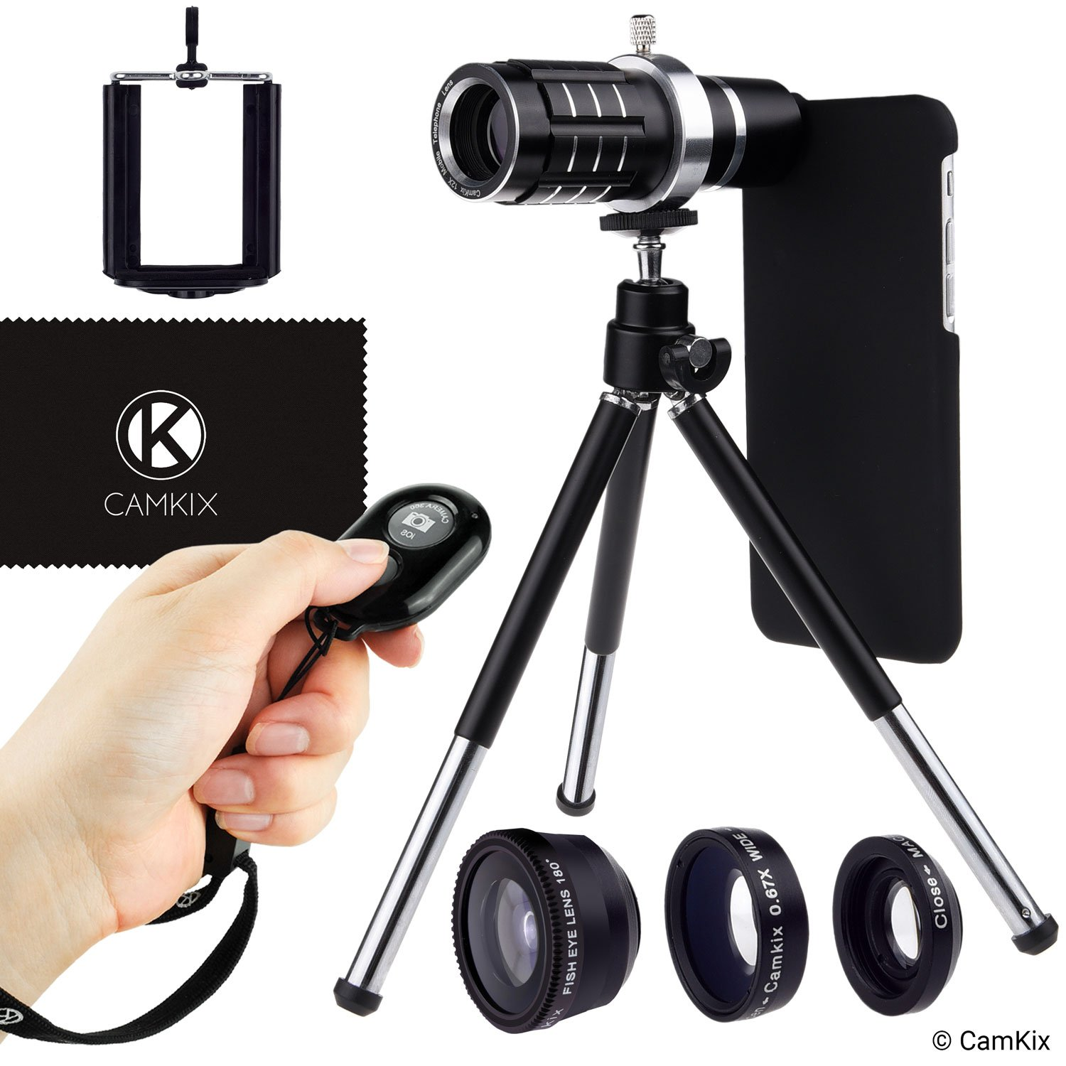 Lens + Shutter Remote Kit for Apple iPhone 6/6s + 6 Plus/6s Plus - Incl Bluetooth Camera RC, 12x Telephoto + Fisheye + Macro + Wide Angle Lens + Tripod, Holder, Hard Case (2x), Bag, Cleaning Cloth by CamKix