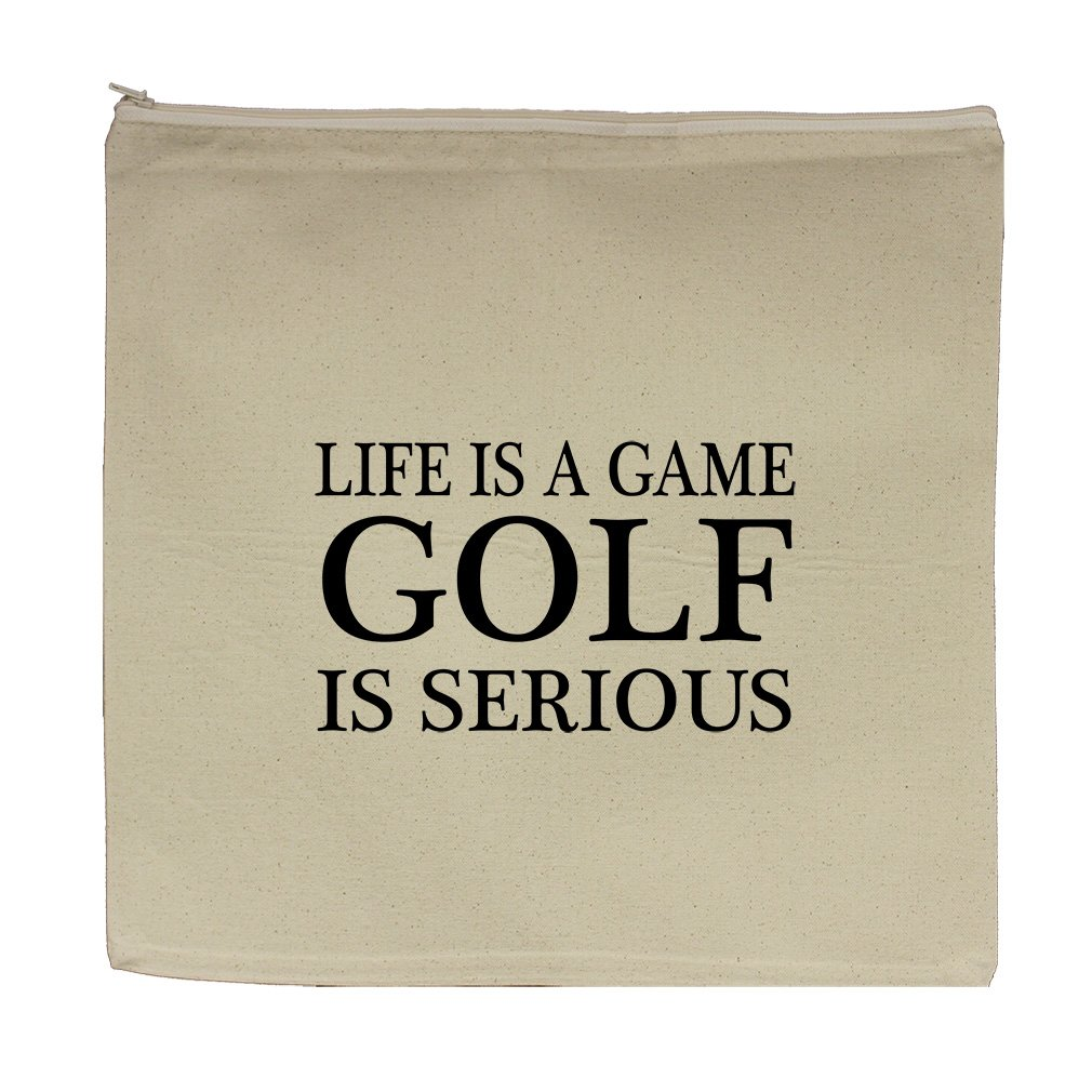Life Is A Game Golf Is Serious Canvas Zipper Tote Bag Makeup Bag
