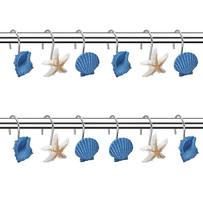 FINROS Seashell Shower Curtain Hooks,12PCS Anti Rust Decorative Resin Hooks for Bathroom, Baby Room, Bedroom, Living Room Decor