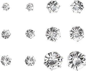 SIX Ohrstecker: Glitzer Ohrschmuck, 6er Set, weiße Strasssteine in silberner Fassung, Modeschmuck für jeden Anlass, verschiedene Größen, 0.3 (702-265)
