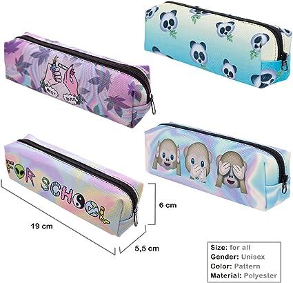 Cmno Cute/Cool/DIY bolígrafo/estuche de lápices/bolsa/estuche/caja de lápices colección con cremallera para niños/niñas/escuela/estudiantes/adolescentes 4 piezas, color Set-2: Amazon.es: Oficina y papelería