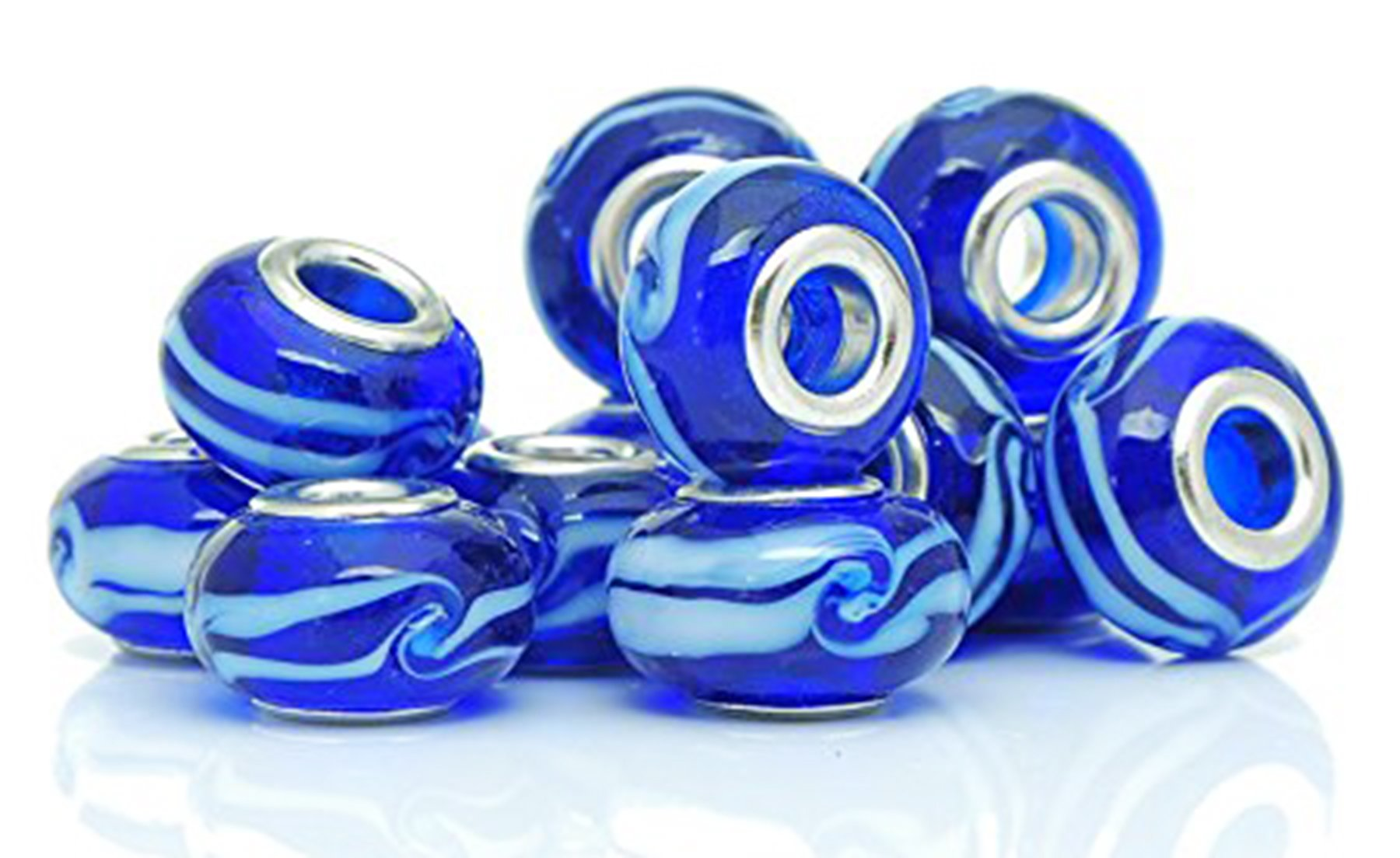 Best Wing Jewelry ''Blue Ripple'' Lamp Work Glass Charm Bead for Snake Chain Bracelets (10 Pcs)