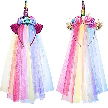 miglior sito web ab4bf 8b27b 2 Pezzi Fascia per Unicorno Arcobaleno con Tulle Colorato per Ragazze  Adolescenti Piccoli Bambini Festa Cerchietto per Capelli