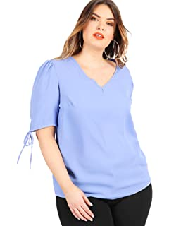46f1e33342d Lovedrobe Koko Women s Sky Blue Tie Sleeve Blouse Ladies Plus Size 16-30