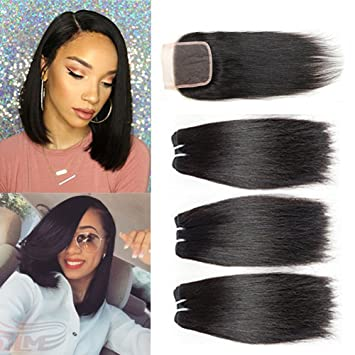 Amazon 10a Brazilian Straight Hair With Closure Free Part 100